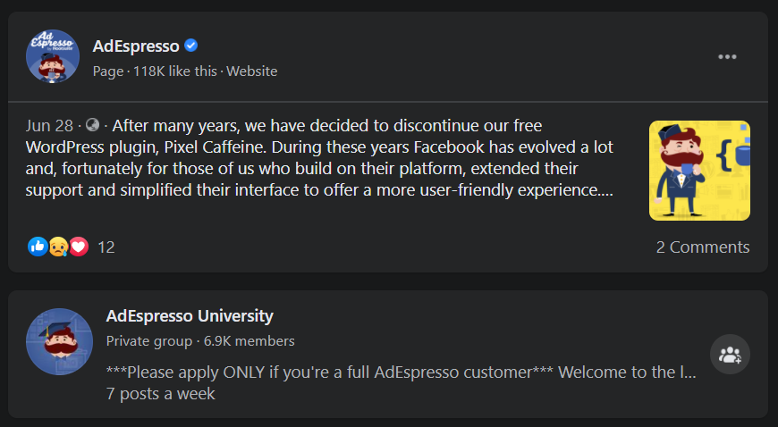 AdEspresso official Page with blue checkmark in search results, above AdEspresso university Facebook Group without checkmark
