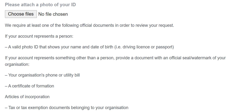 Facebook verification request form — attaching documents