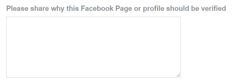 Facebook verification request form - providing a reason for verification