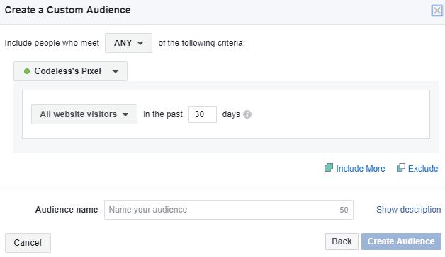 Custom audience creation window in Facebook