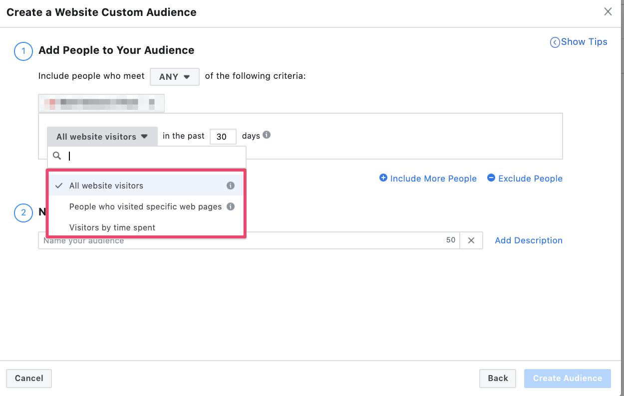 Facebook remarketing options