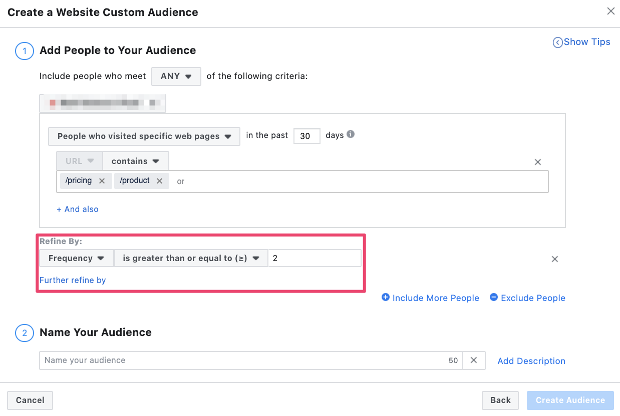 Refining remarketing parameters in Facebook