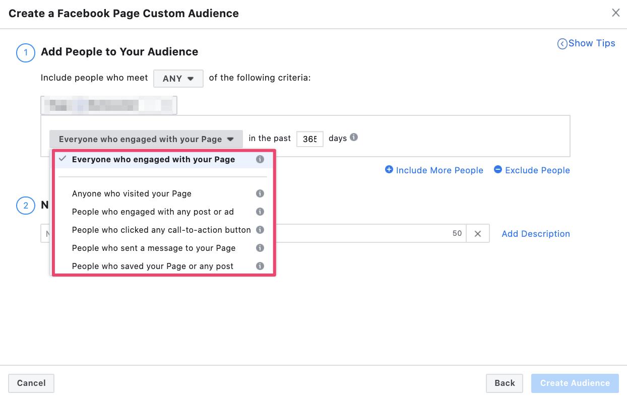 Facebook remarketing criteria based on engagement