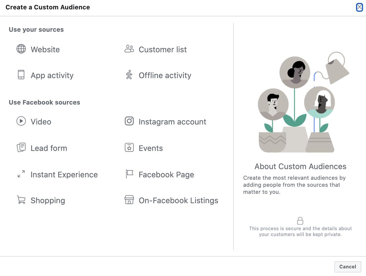 Facebook custom audience types