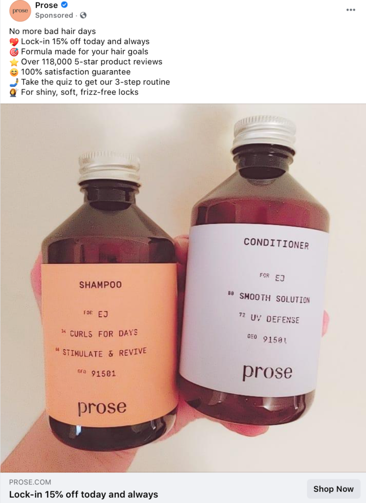 Facebook Ad from Prose listing different benefits of the product