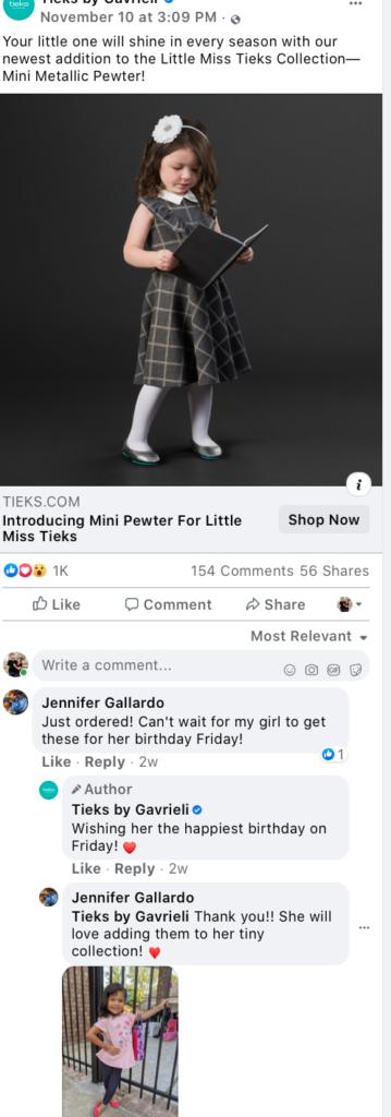 Tieks post responding to user comment