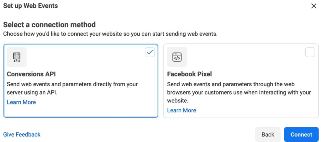 Facebook manager for Conversions API set up