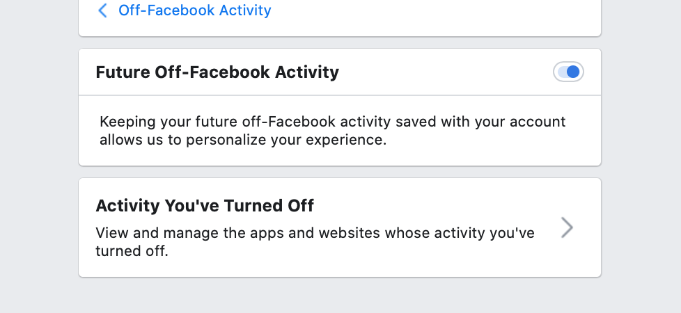 Facebook's dashboard that allows you to turn off tracking activity