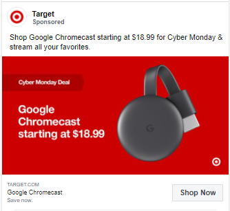 Screenshot of an ad from Target