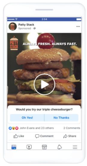 Screenshot of a Facebook video poll ad.