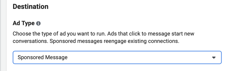 """Ad creation process selecting """"sponsored message"""""""