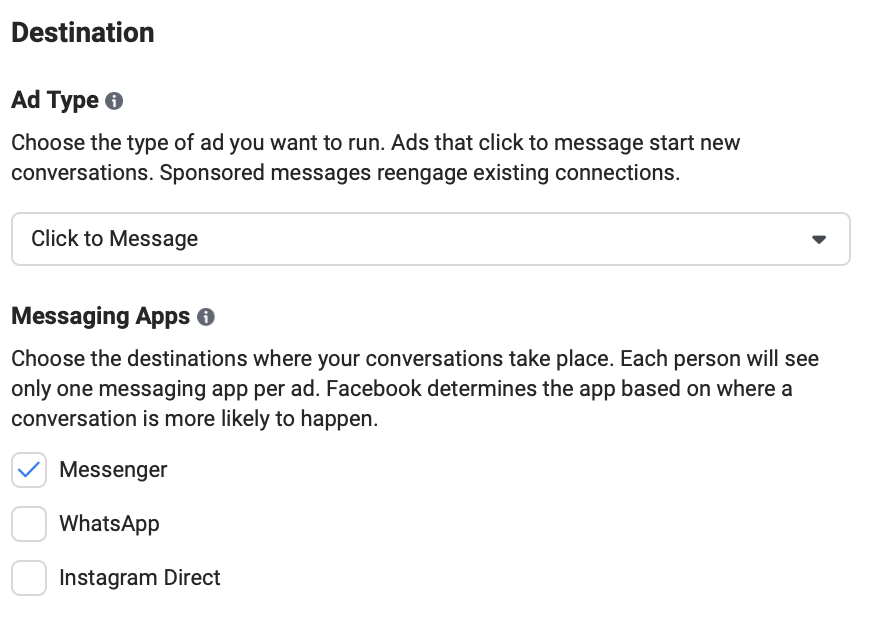 The ad set creation process for Messenger Ads