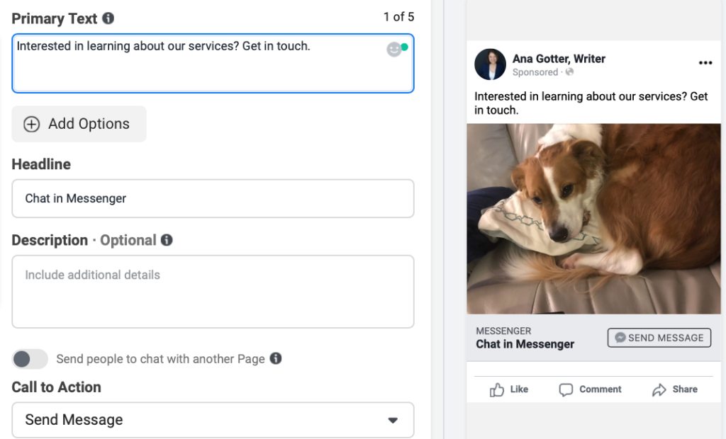 Preview of Facebook Messenger ad in ads manager