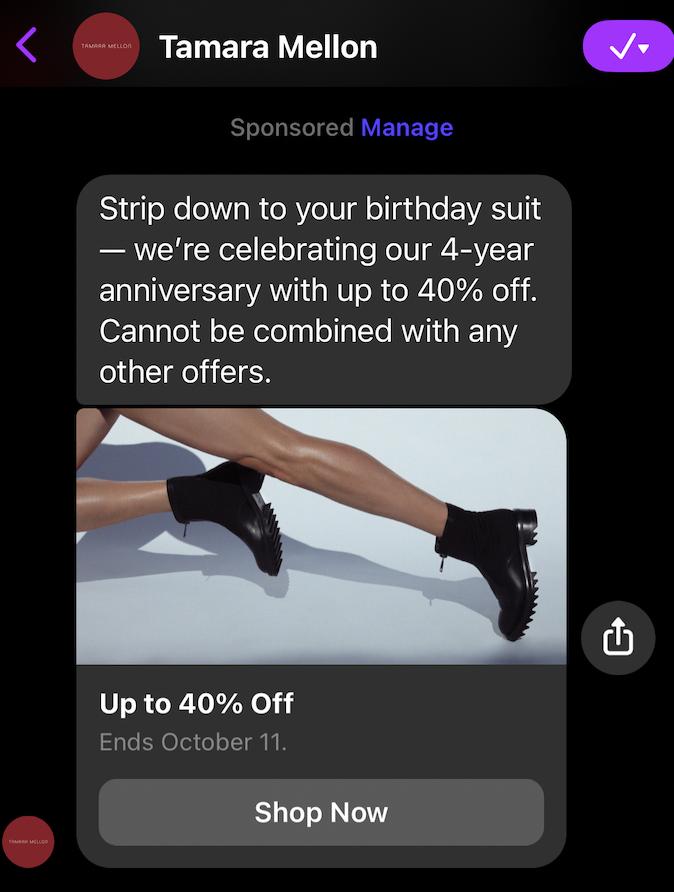 Facebook messenger ad from Tamara Mellon