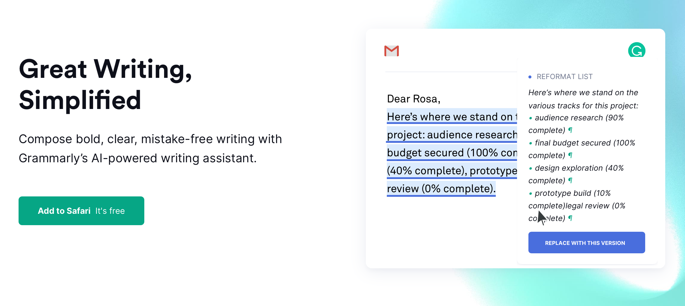 Grammarly's automated suggestions