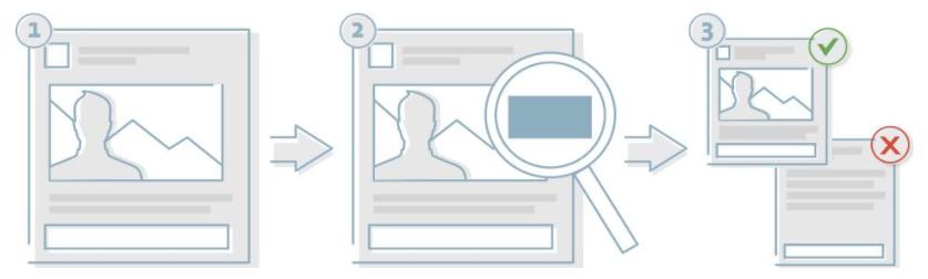 Screenshot of Facebook's ad review procedure image