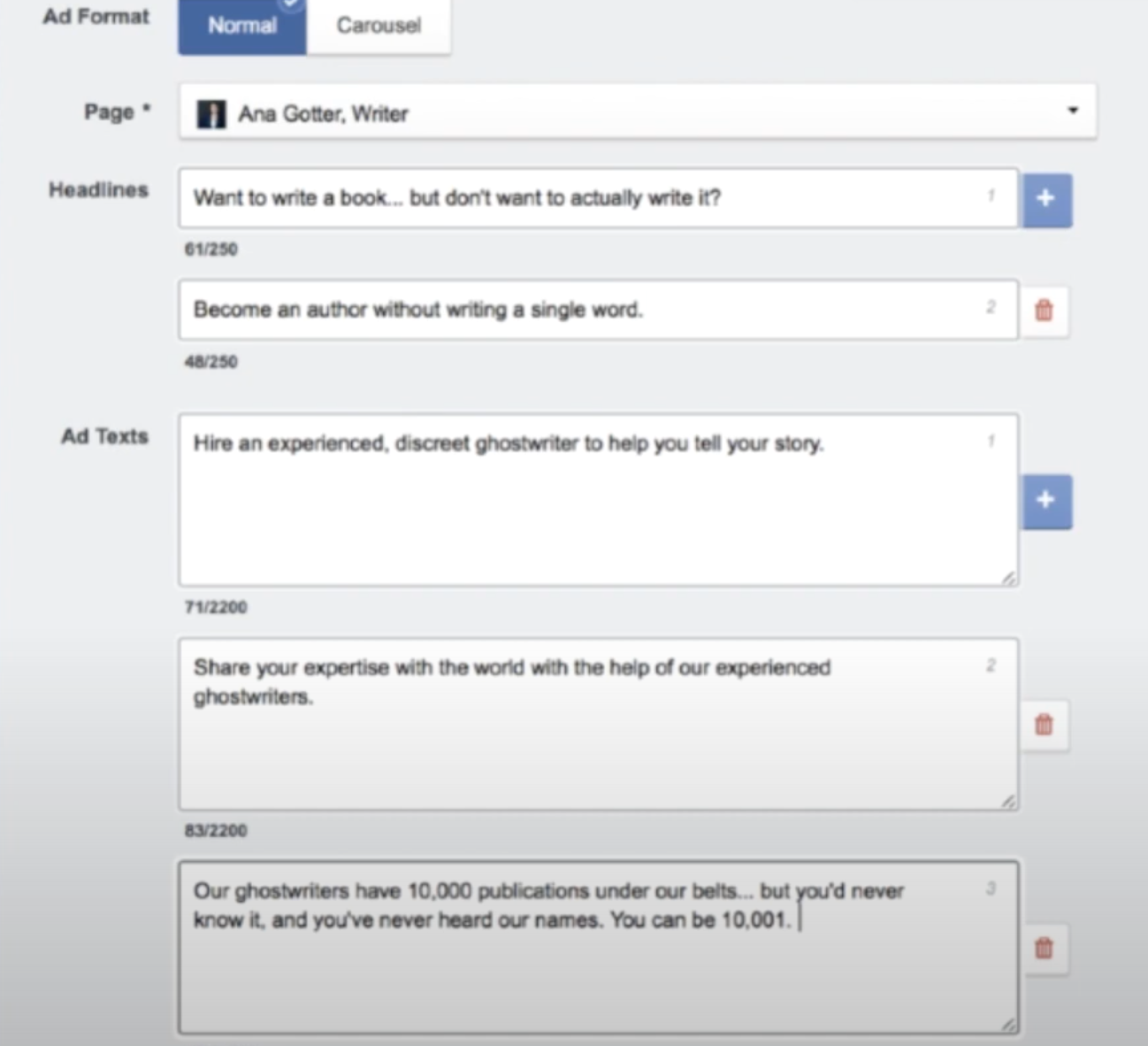 AdEspresso's ad creation tool