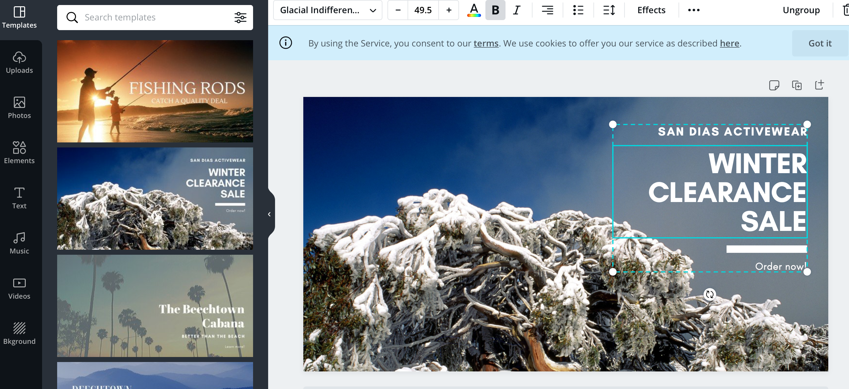 Canva's image creation dashboard