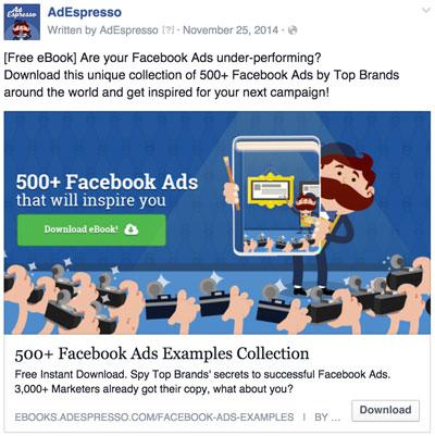 Facebook ad promoting ebook