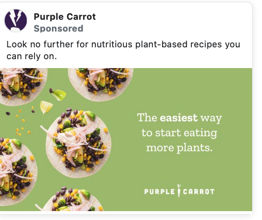 Purple carrot ad showing A/B testing copy