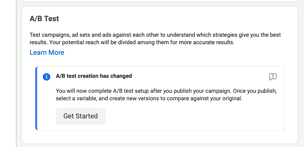 A/B testing set up on Facebook Ads