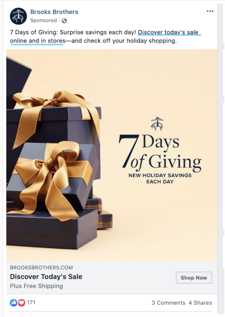 Facebook ad design from Brooks Brothers