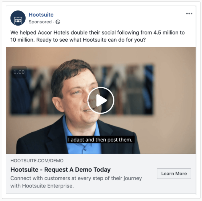 facebook custom audience example of uses with video