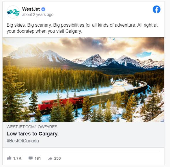 Facebook ad design from WestJet