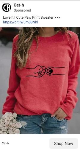 cat paw print sweater sponsored ad