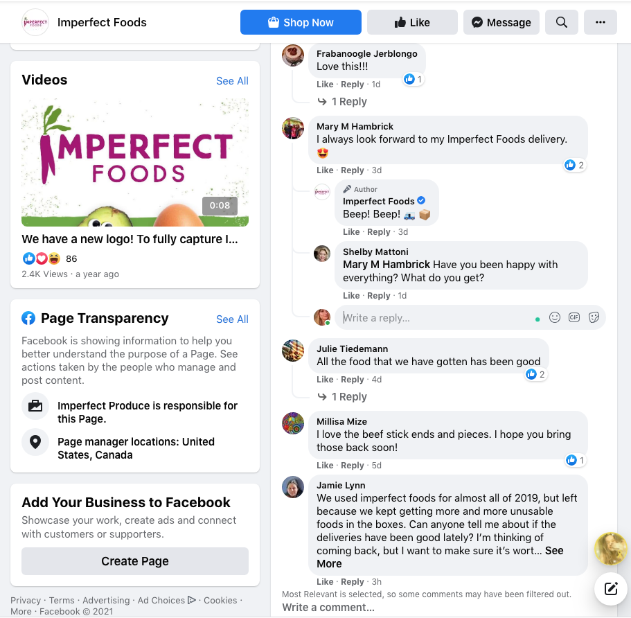 Imperfect Foods comment replies