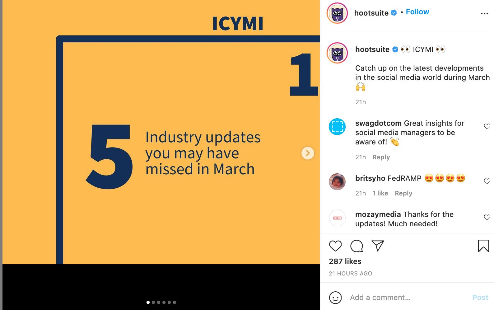 B2B Instagram account