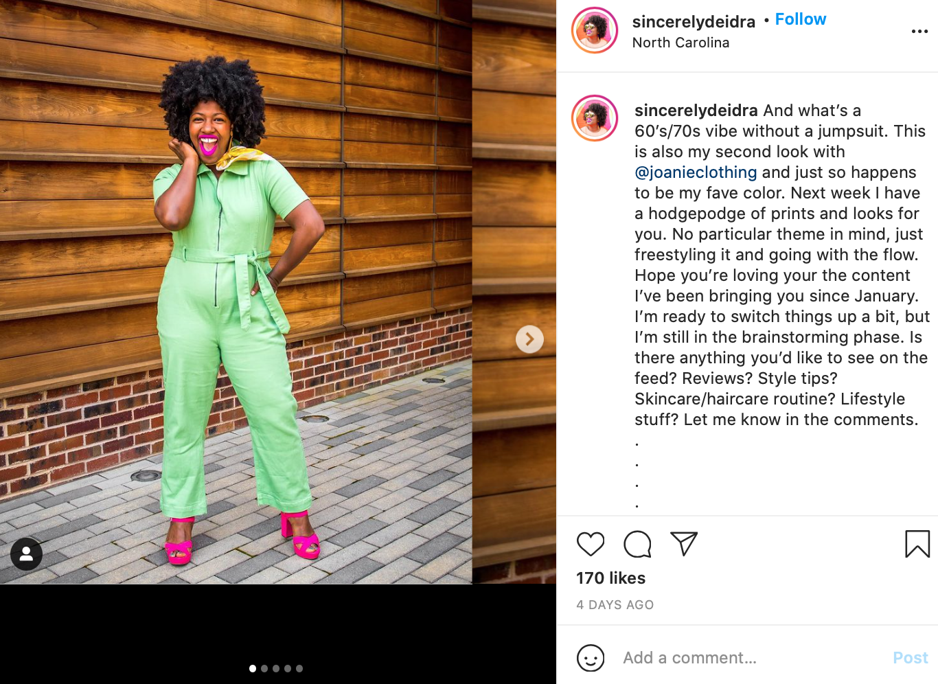 Instagram influencer promoting fashion brand.