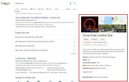 Knowledge panel in organic Google search results on desktop
