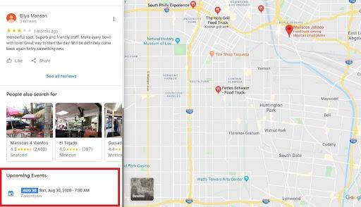 Google my business events displayed in Google Maps