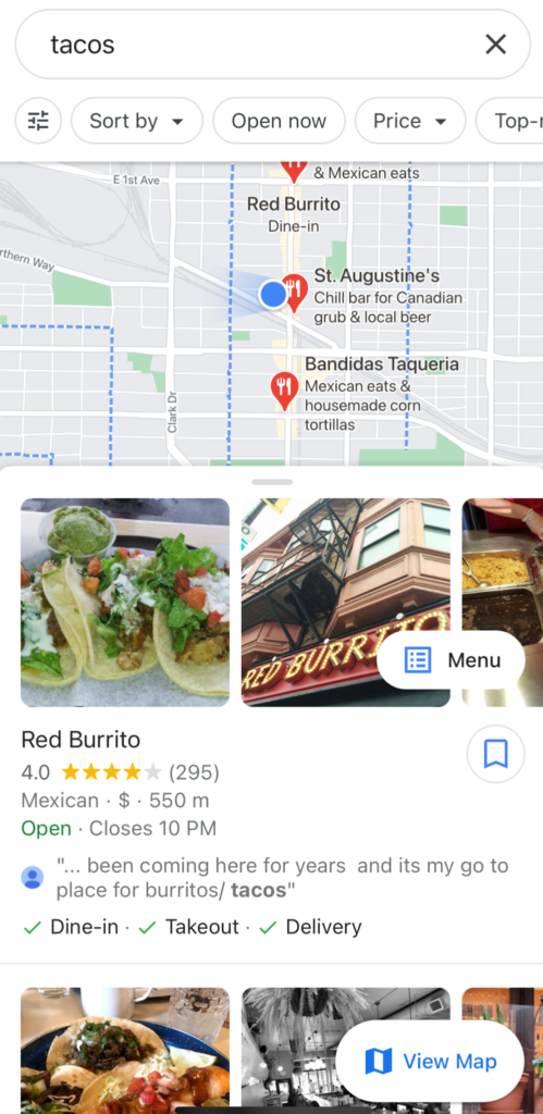 GMB listing in mobile search results in Google Maps