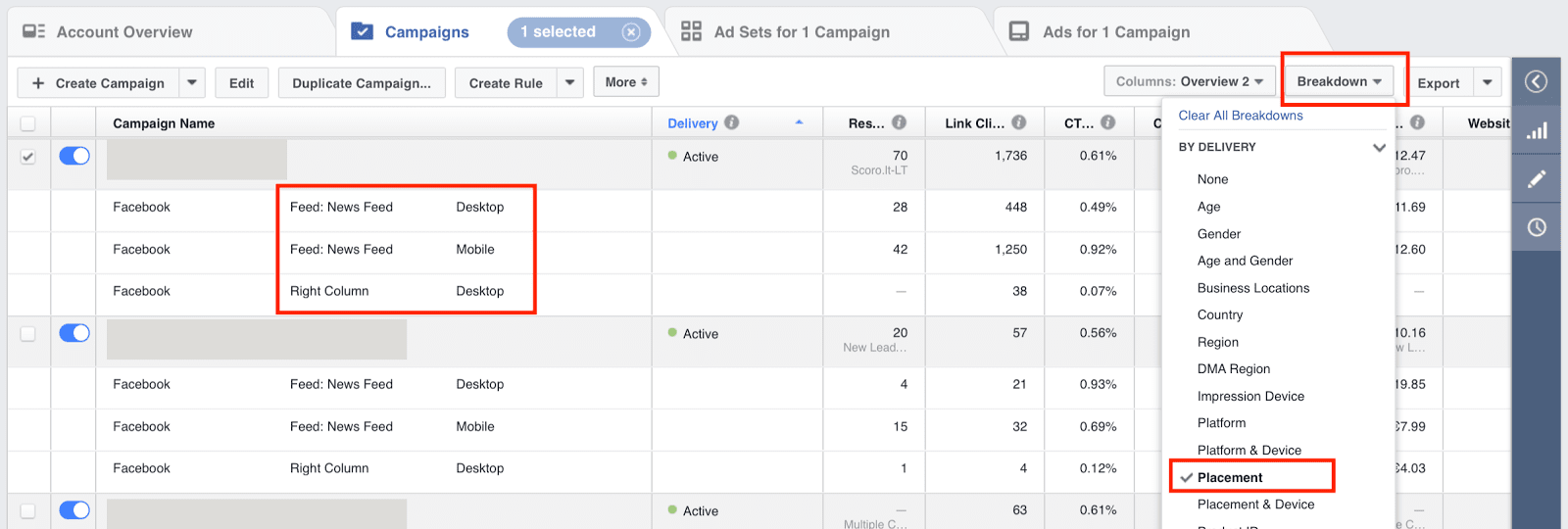 Campaign overview in Facebook Ads Manager featuring breakdowns by action