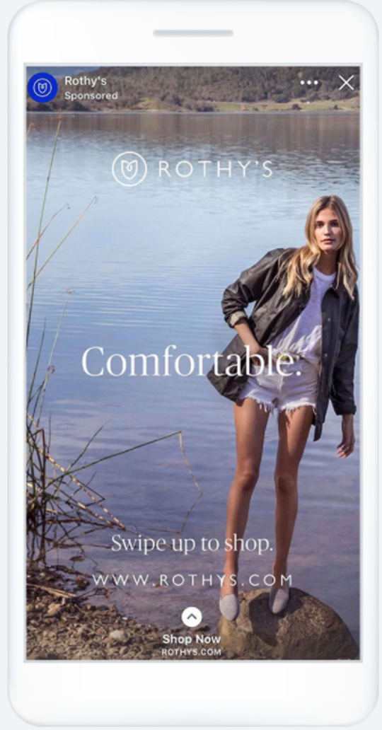 """Rothy's """"Comfortable"""" stories ad"""