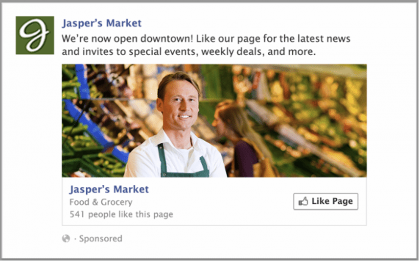 Jasper's Market page likes ad