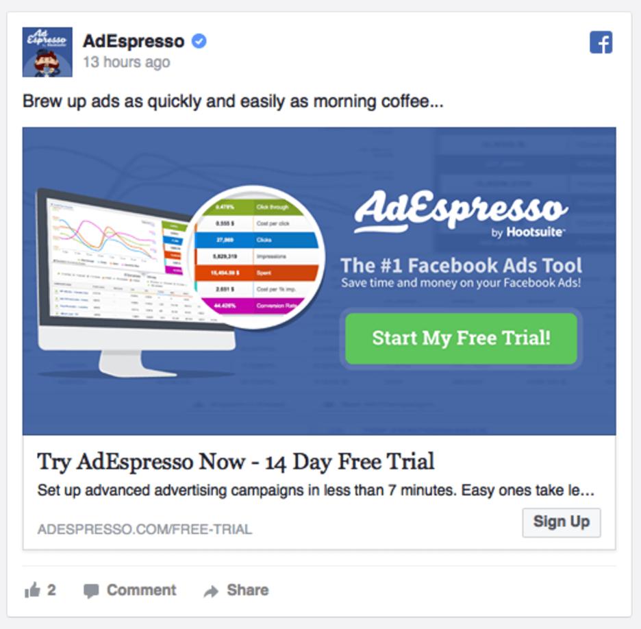 AdEspresso 14 day free trial website visitor ad