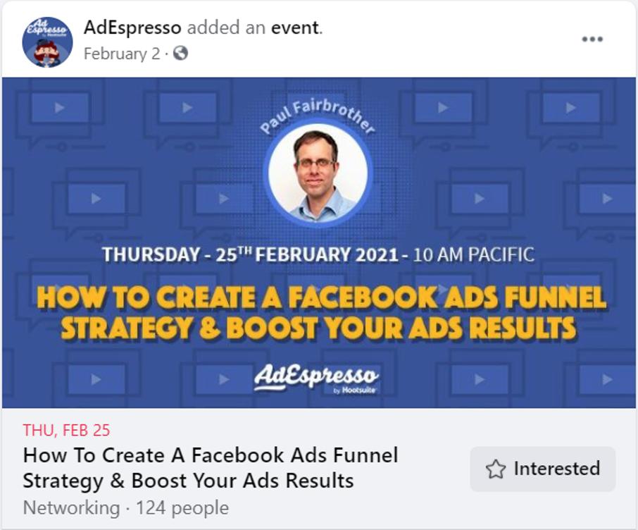 AdEspresso Facebook ads funnel strategy event