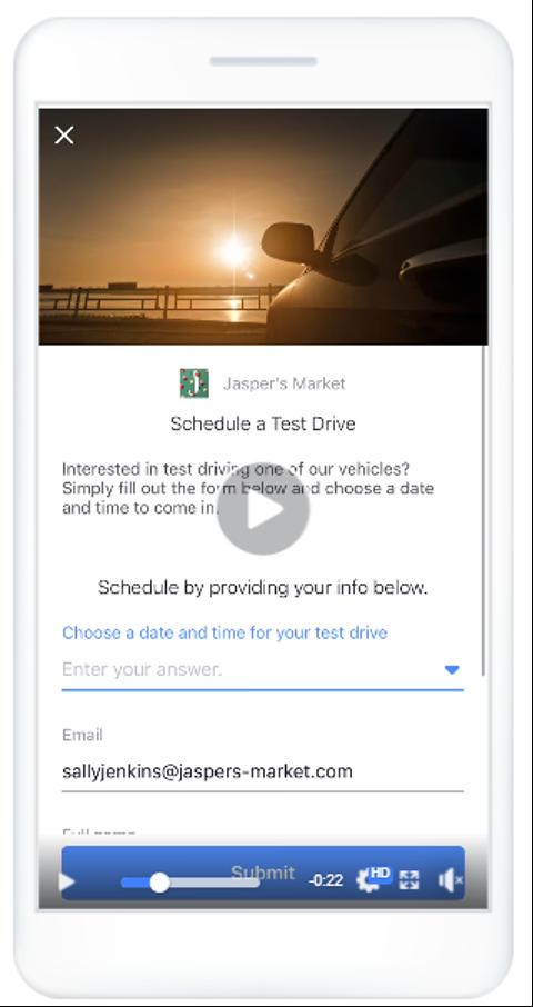 Jasper's Market lead ad schedule test drive
