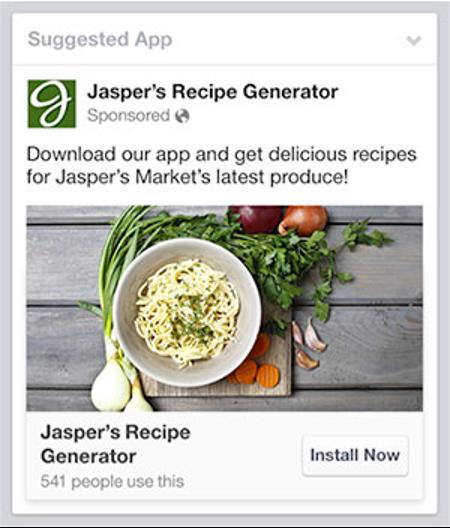 Jasper's recipe generator mobile app ads