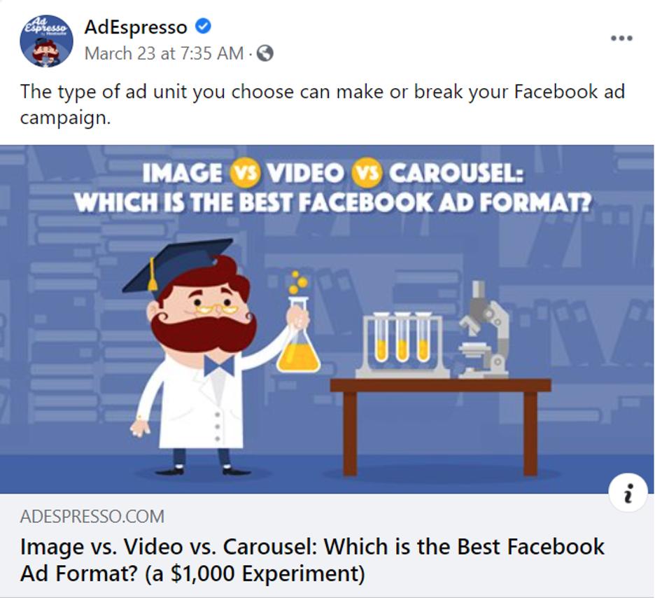 AdEspresso image vs. video vs. carousel