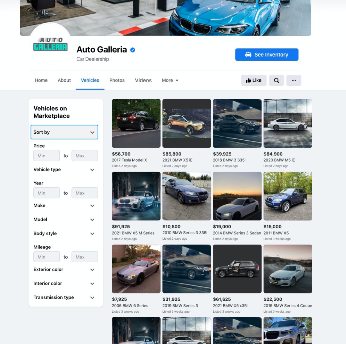 Facebook auto dealer inventory
