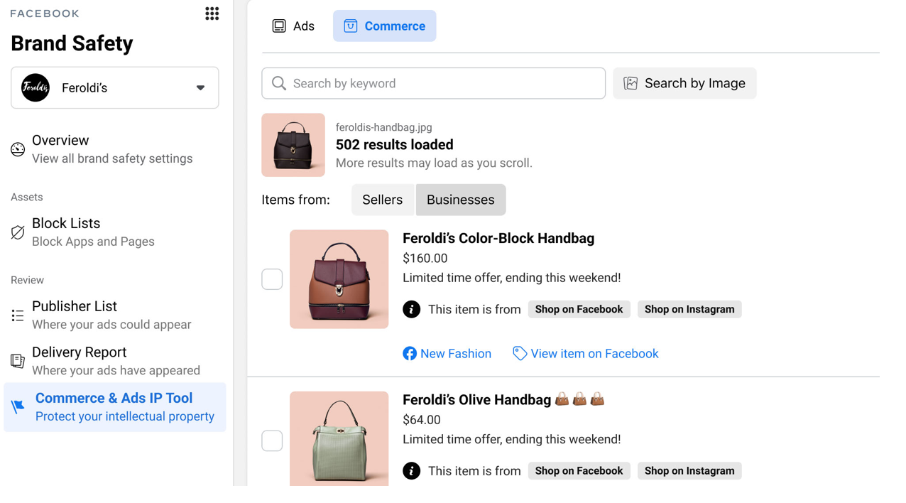 Brand safety controls on Facebook for Commerce and Ads IP tool
