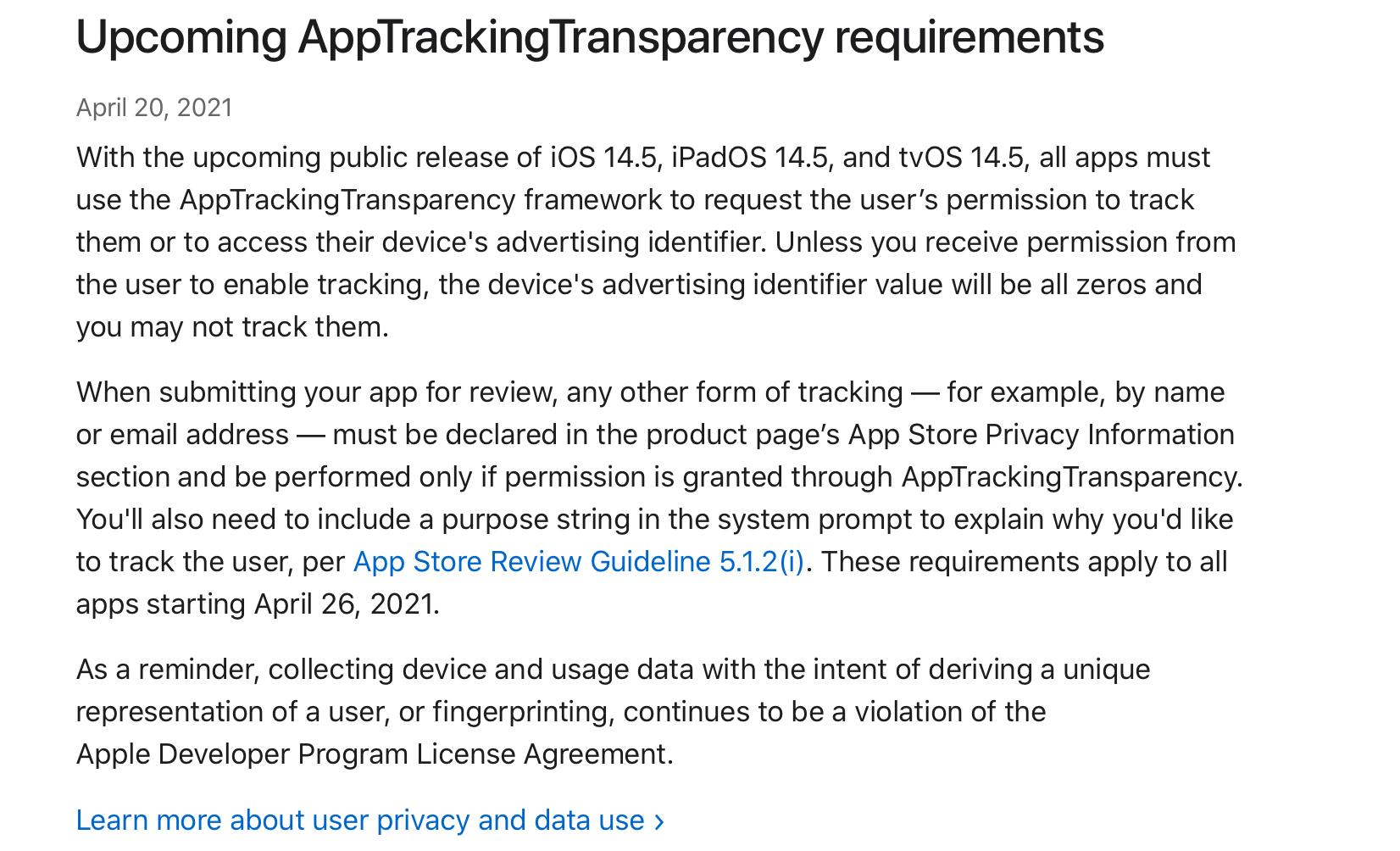 ATT tracking Facebook update from blog post