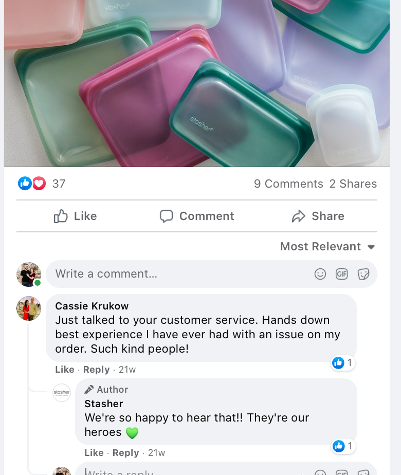 Facebook engagement interaction between brand and customer