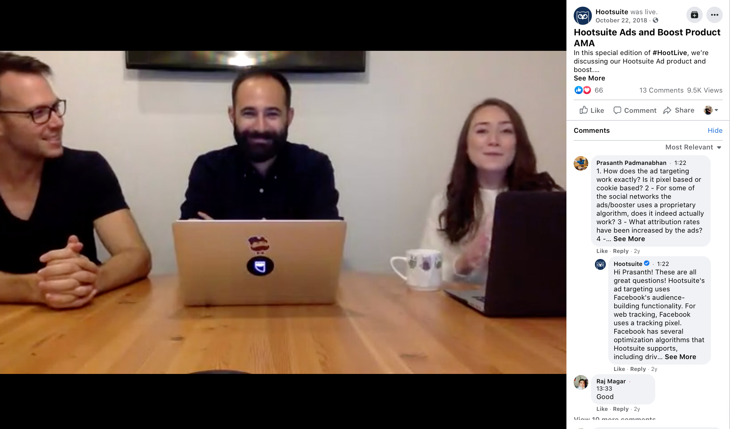 Facebook live. video from Hootsuite