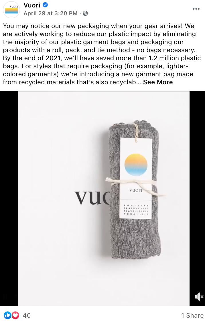 high engagement Facebook video post from Vuori