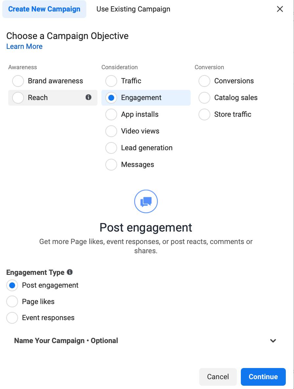 Facebook engagement objective for Facebook Ads